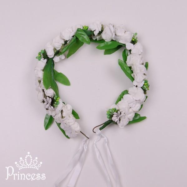 Фото: Веночек из цветов  (артикул 1073-white)