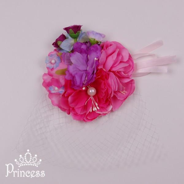 Фото: Заколка с вуалью и цветами (артикул 1075-pink-violet)