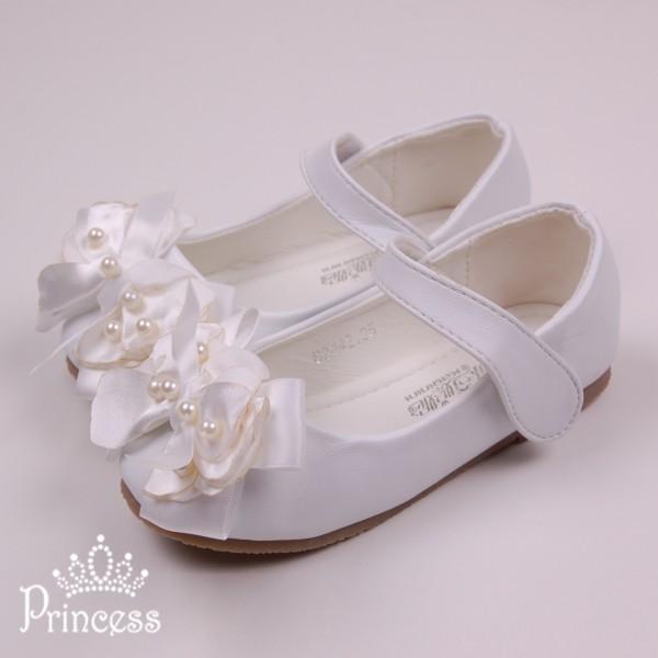 Фото: Детские балетки на липучках белого цвета (артикул 1079-white)