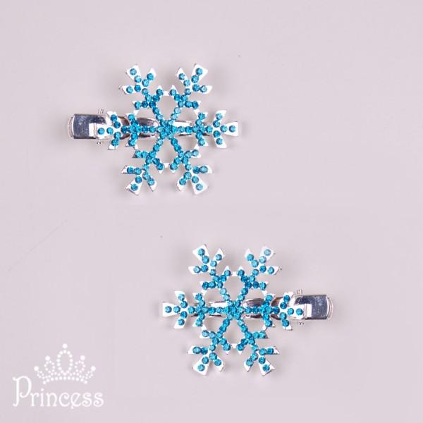 Фото: Заколка в виде снежинки с голубыми стразами (артикул 1085-blue)