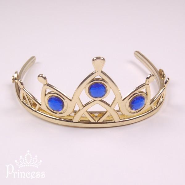 Фото: Золотистая диадема Эльзы с синими стразами (артикул 1092-dark blue)