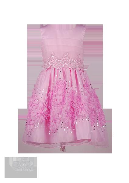 Фото: Нежно-розовое детское платье с объёмными цветами на юбке и отделкой из бисера и пайеток (артикул 3115-light pink)