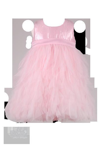 Фото: Нежно-розовое нарядное детское платье с пайетками (артикул 3001-light pink)