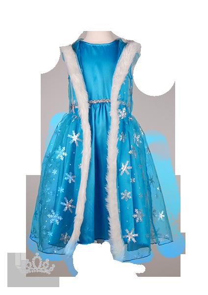 Фото: Платье Холодное Сердце с накидкой и перчатками в снежинках (артикул 3013-blue)