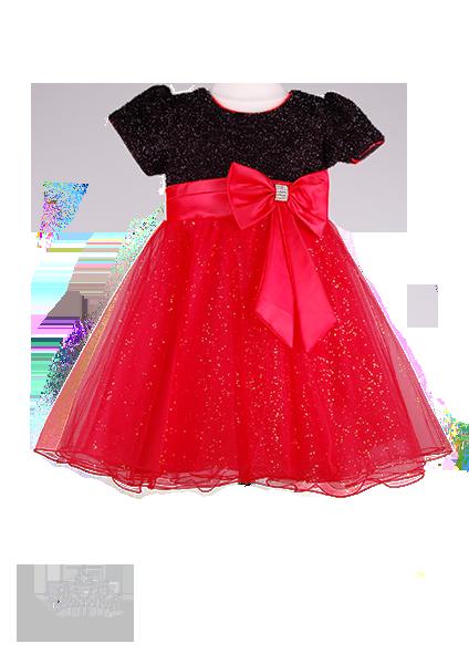 Фото: Вечернее детское платье с мерцающим лифом (артикул 3017-black-red)