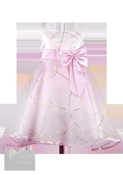 Фото: Розовое платье для девочки с золотыми кольцами  на юбке (артикул 3022-light pink)