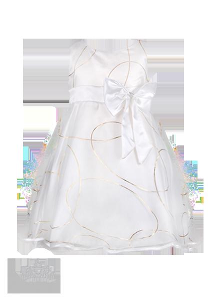 Фото: Белое платье с красивым узором для юной леди (артикул 3022-white)