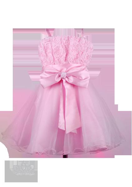 Фото: Платье для девочек на бретелях с розами и бисером на лифе (артикул 3025-light pink)