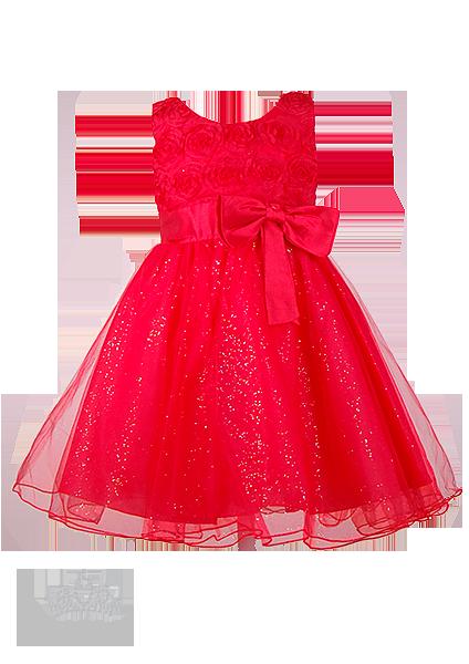 Фото: Пышное ярко-красное платье для девочек (артикул 3024-red )