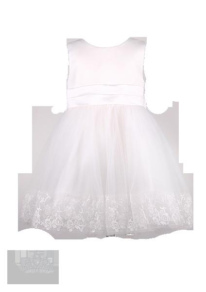 Фото: Праздничное детское платье с ажурной вышивкой на подоле (артикул 3034-white)