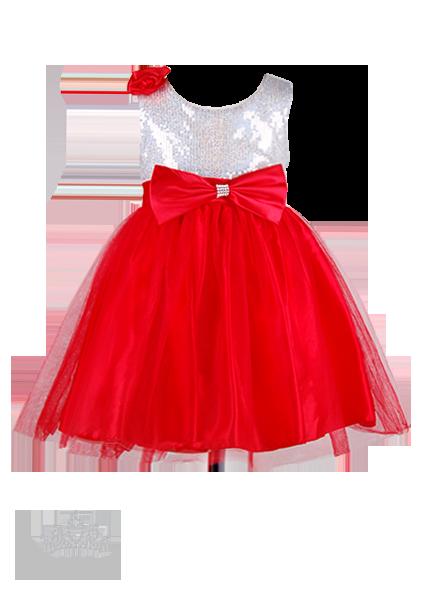 Фото: Детское платье с блестящим лифом и пышной юбкой (артикул 3048-red)
