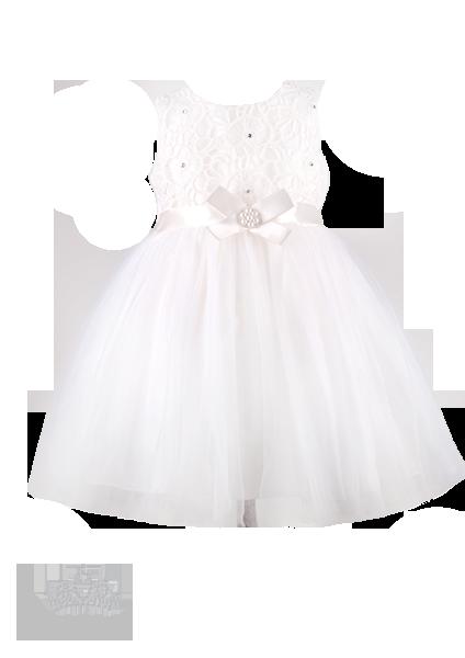 Фото: Белоснежное платье для девочки с атласным бантом (артикул 3050-white)