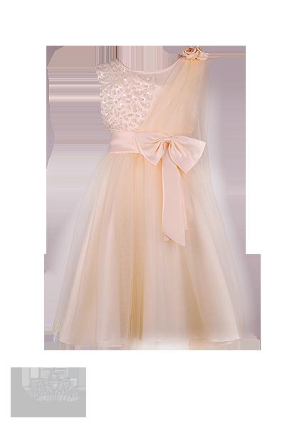 Фото: Красивое платье для девочки цвета миндального масла (артикул 3055-beige)