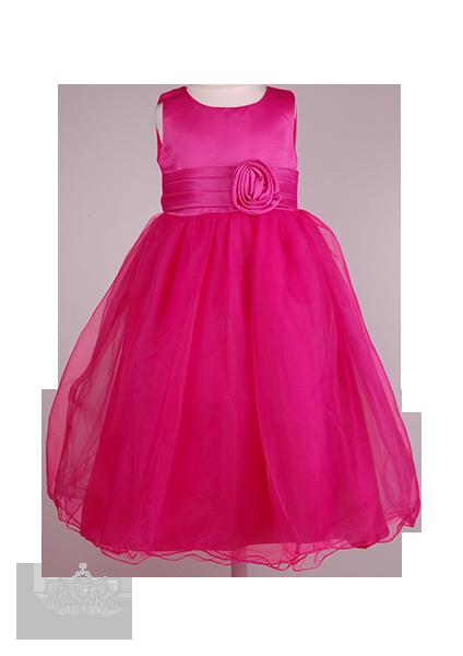 Фото: Длинное платье в пол с розой для девочки (артикул 3072-pink)