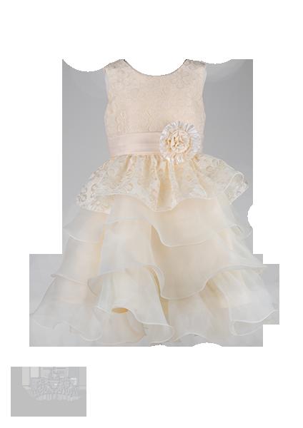 Фото: Праздничное детское платье с ажурным верхом и пышной юбкой (артикул 3073-light beige)