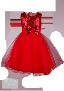 Фото: Пышное платье для девочки огненно-красного цвета (артикул 3087-red)