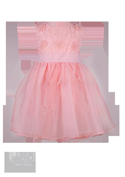 Фото: Нарядное детское платье изумительно-нежного персикового цвета с ажурным лифом (артикул 3091-peach)