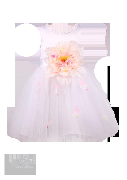 Фото: Праздничное детское платье белого цвета (артикул 3096-white)
