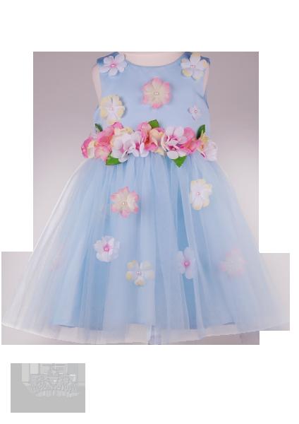 Фото: Нарядное платье для девочки с декором цветов на лифе и на юбке (артикул 3097-light blue)