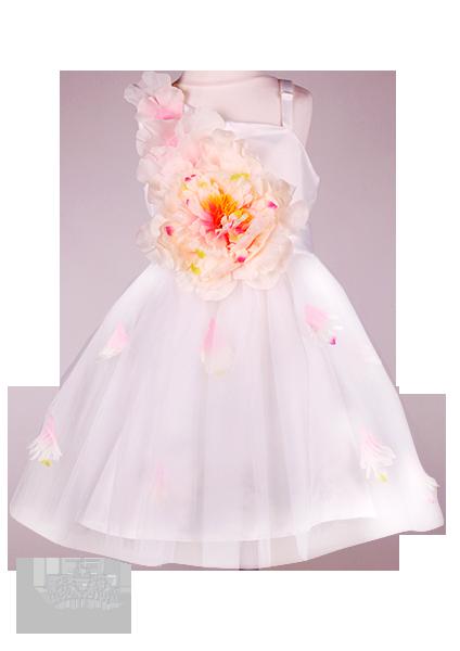 Фото: Праздничное платье для девочки с большим цветком на талии (артикул 3098-white)
