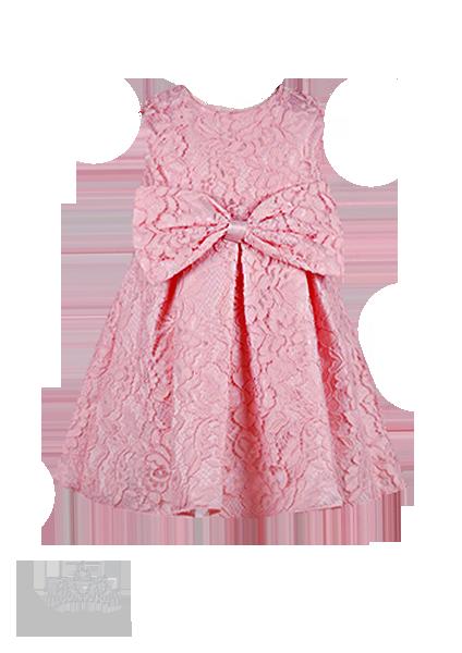Фото: Нарядное платье для девочки изумительно-нежного персикового цвета из кружева (артикул 3100-light pink)