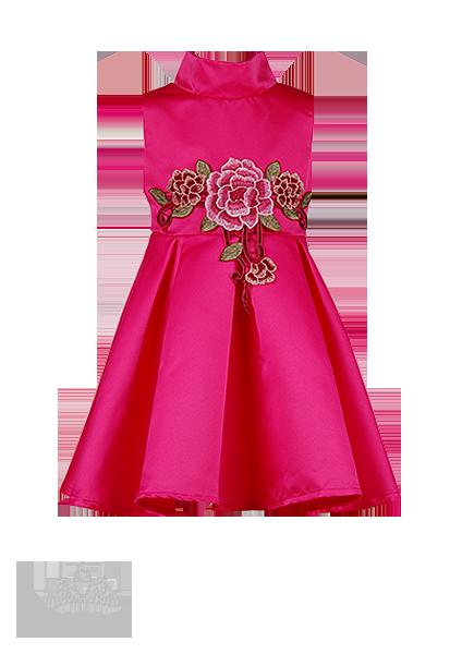 Фото: Праздничное яркое платье для девочки с воротником-стойкой (артикул 3101-pink)
