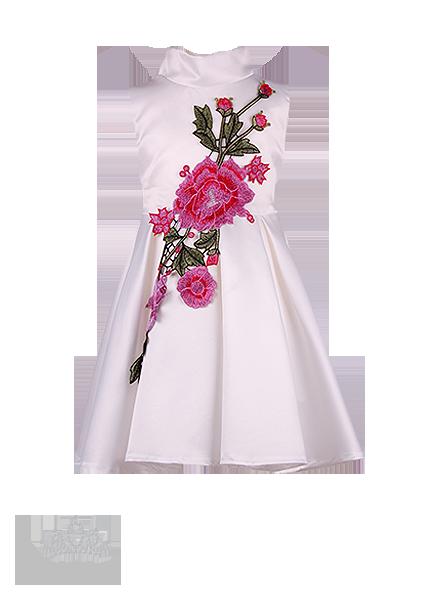 Фото: Белое платье для девочки из атласа со встречными складками (артикул 3101-white)