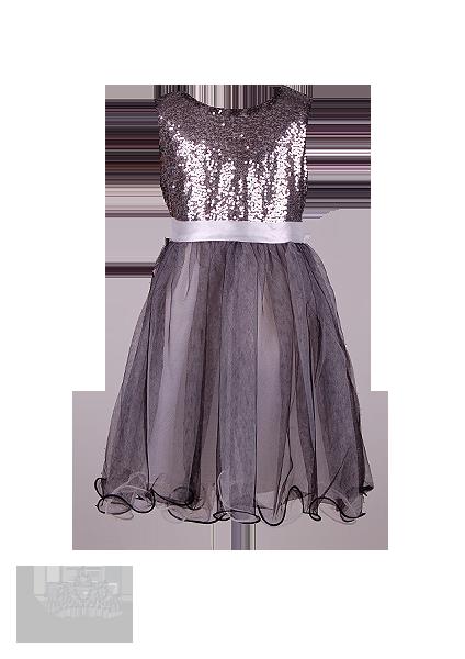 Фото: Праздничное платье для девочки с воздушной фатиновой юбкой (артикул 3104-grey)