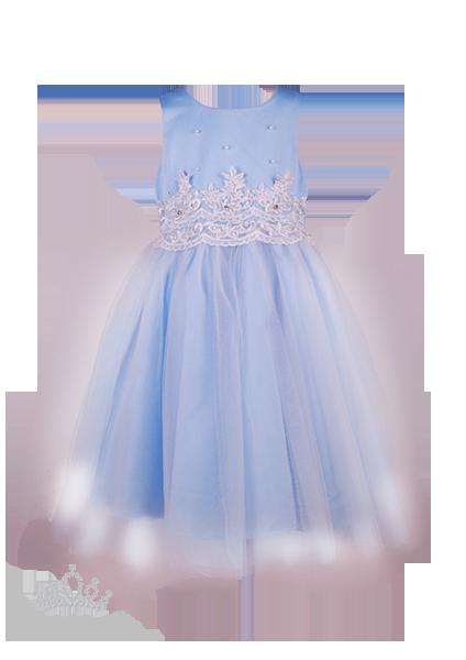 Фото: Нарядное платье для девочки небесного цвета (артикул 3105-light blue)