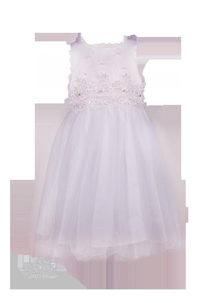 Фото: Белоснежное детское платье с кружевом на талии (артикул 3105-white)