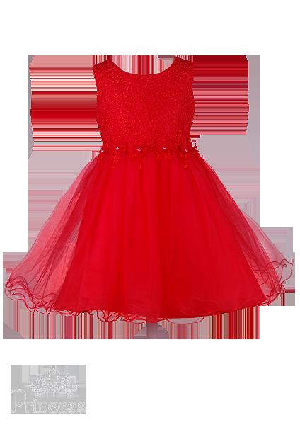Фото: Яркое детское платье с вышивкой и стразами (артикул 3120-red )