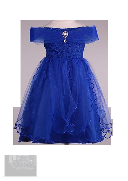 Фото: Детское праздничное синее платье с брошкой (артикул 3121-blue)