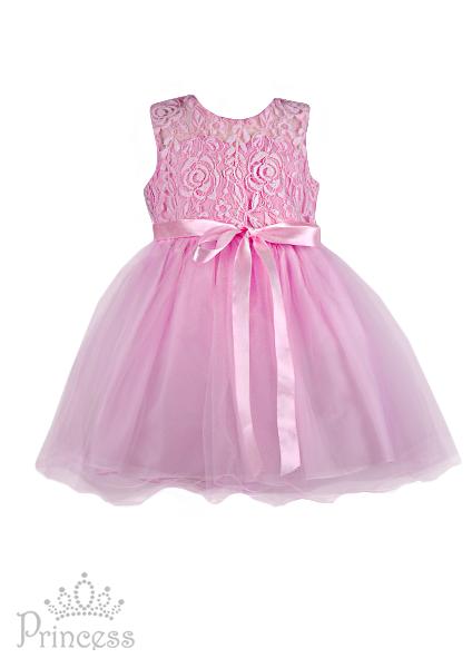 Фото: Нежное платье для девочки с лентой-бантиком (артикул 3126-light pink)