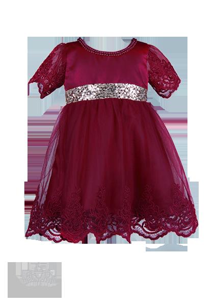 Фото: Детское платье цвета марсала (артикул 3130-wine)