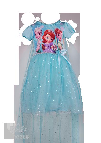 Фото: Голубое платье для девочки с изображением любимых принцесс (артикул 3133-blue)