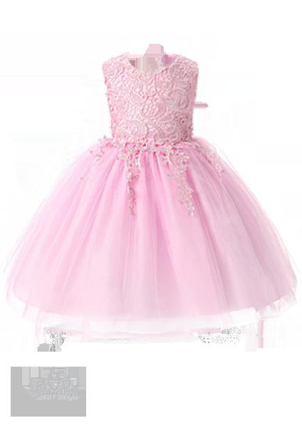 Фото: Детское платье с фигурным кружевом на лифе (артикул 3134-light pink)