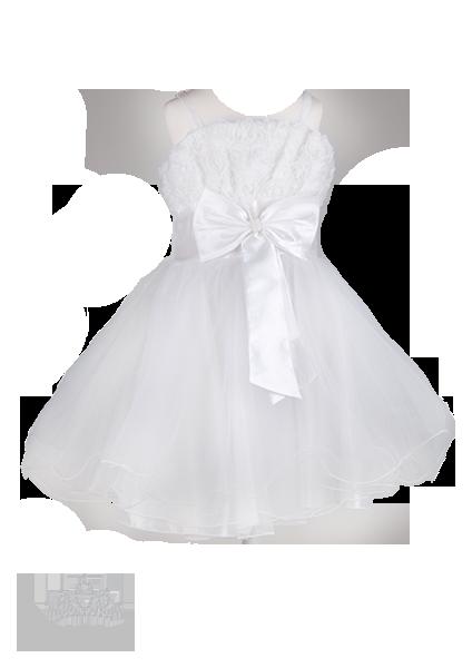 Фото: Белоснежное платье для маленькой принцессы на бретелях (артикул 3025-white)