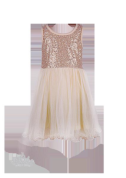 Фото: Нежное нарядное детское  платье цвета ванили с лифом в пайетках (артикул 3085-light beige)