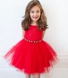 Фото: Вечернее платье для девочки с отделкой на поясе (артикул 3005-red) - изображение