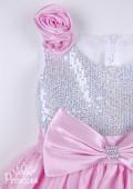 Фото: Платье для детского утренника с розой на плече и пайетками (артикул 3048-light pink) - изображение