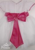 Фото: Праздничное белое детское платье с блестящим верхом  и розовым бантом  (артикул 3017-white) - изображение