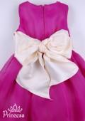 Фото: Малиновое детское платье с большим бежевым бантом сзади (артикул 3018-1dark pink) - изображение