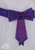 Фото: Нарядное детское платье со шлейфом на плече и бантом (артикул 3055-white-violet) - изображение