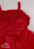 Фото: Бальное красное платье с бусинами и цветами (артикул 3025-red) - изображение