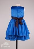 Фото: Нарядное детское платье цвета индиго с розами на кайме  (артикул 3029-dark blue) - изображение