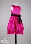 Фото: Атласное платье для девочки цвета фуксии (артикул 3029-dark pink) - изображение