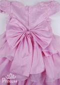 Фото: Платье для девочки с оригинальным узором в виде паутинки (артикул 3036-light pink) - изображение