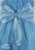 Фото:  Детское платье лазурного цвета с бусинами и цветами на лифе (артикул 3025-blue) - изображение