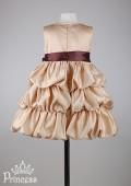 Фото: Детское платье золотистого цвета с контрастным бантом (артикул 3037-gold) - изображение