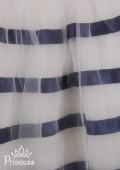 Фото: Изящное детское платье с темно-синими полосами на юбке (артикул 3045-white-deep blue) - изображение
